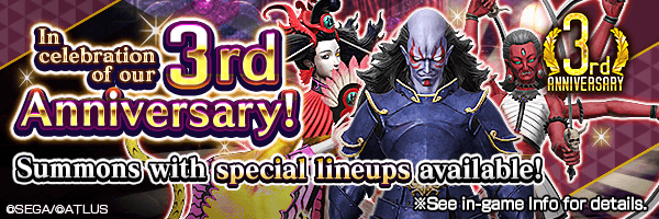 [3rd Anniv.] Summon rare demons from the Special Gem Summon and Special Absolute Summon!