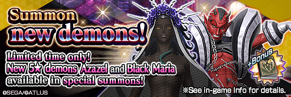 New 5★ demons Azazel and Black Maria available in special summons!